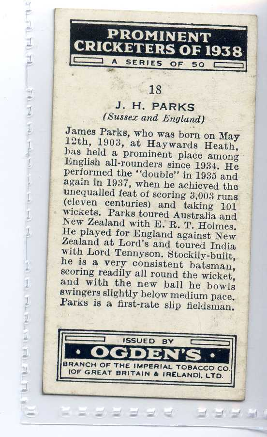 OGDENS-PROMINENT CRICKET ERS OF 1938-#18 SUSSEX PARKS